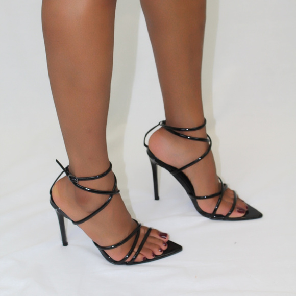 Cape Robbin Black Strappy Pointed Toe Heels